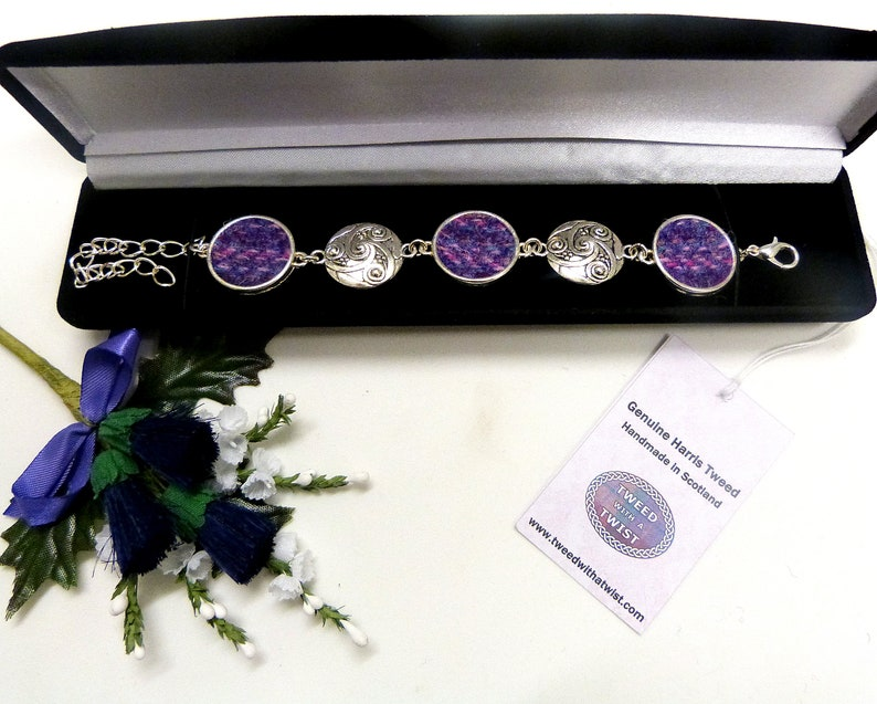 Harris Tweed Bracelet with celtic spiral in Purple and pink image 0
