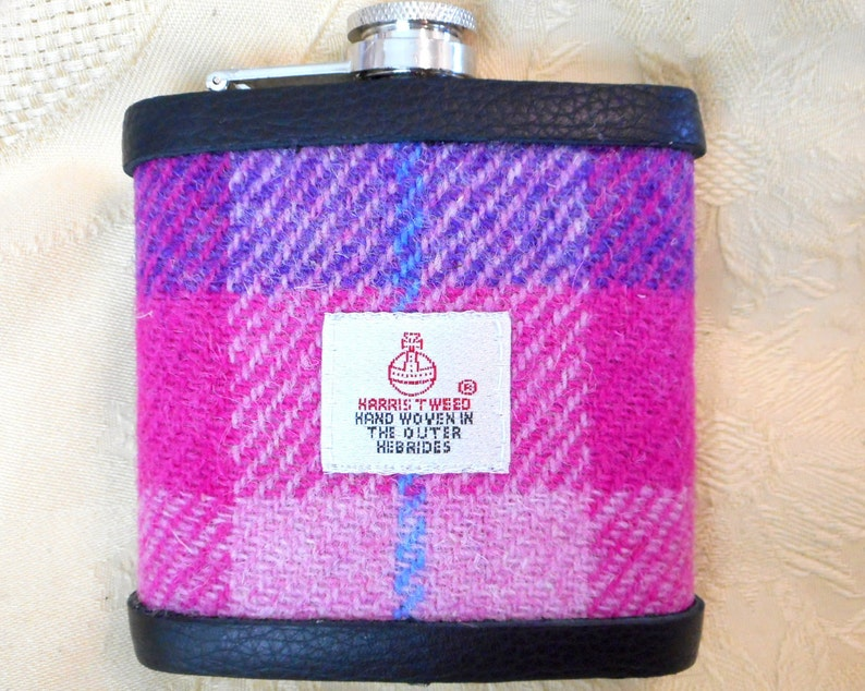 Hip flask Harris Tweed purple and Pink from Tweed with a Twist image 0