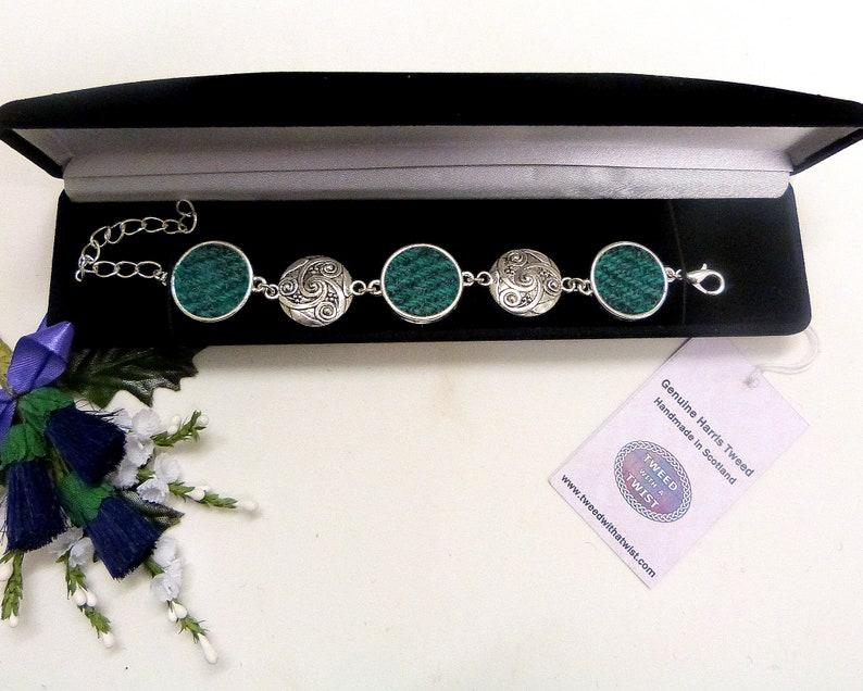 Harris Tweed bracelet spiral celtic jade green and grey bangle image 0