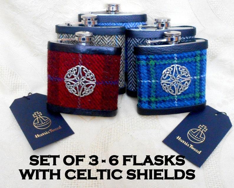 Harris Tweed hip flasks Groomsmens gift set  celtic shield image 0