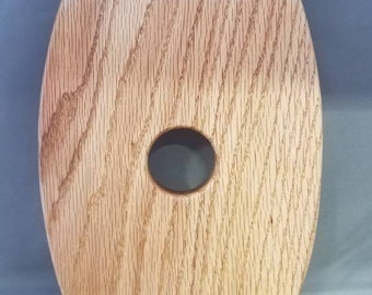 Red oak wine glass bottle holder