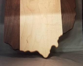 Walnut and hard maple state of ohio cutting board