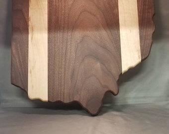 Walnut and maple state of Ohio cutting board