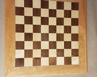 Walnut maple cherry chessboard