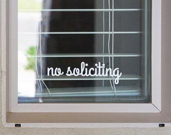 No Soliciting Sign Vinyl Decal Sticker - v2