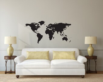World Map Globe Vinyl Decal Wall Art Decor Silhouette