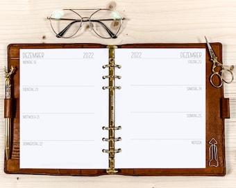 Calendar Inserts・1 W / 2 S ・ A5 ・ 120g • 2022 German / English