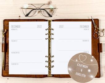 Calendar Inserts ・ Washitape・ A5 ・ 120g • 2022 German / English