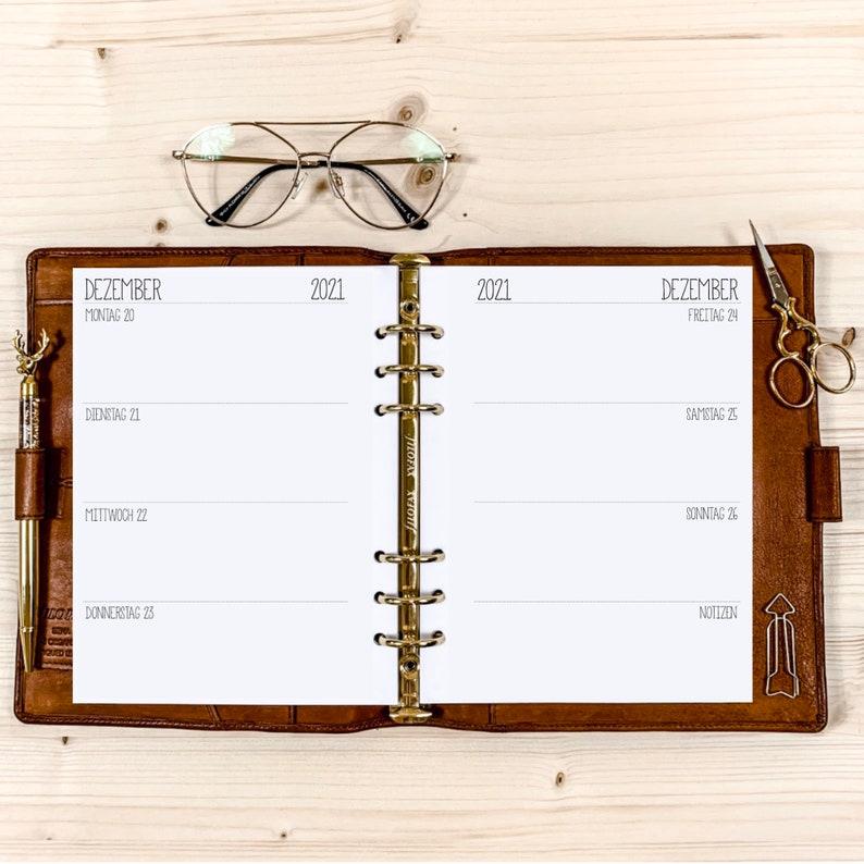 From desired month Calendar inserts 1 W / 2 S  A5  120g  Schrift 6 Randlos