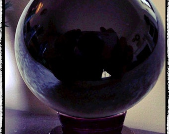 """Large Obsidian Crystal Ball 4.5"""" Diameter, Scrying, Wicca, Pagan, Divination, Occult"""