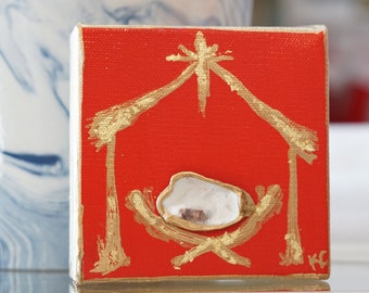 2a3d6229a506 IN STOCK- Mini Oyster Nativity - Gold Leaf - Christmas Red