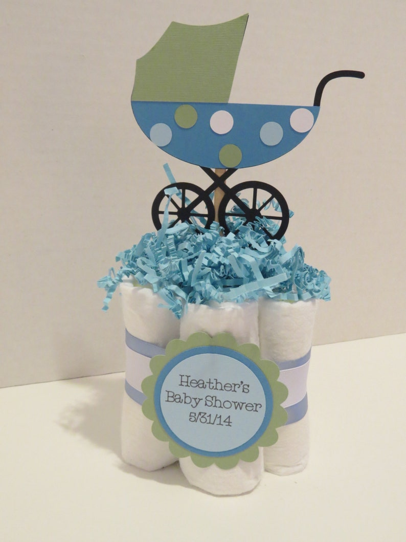 Stroller Diaper Cake Centerpieces for baby shower or gift