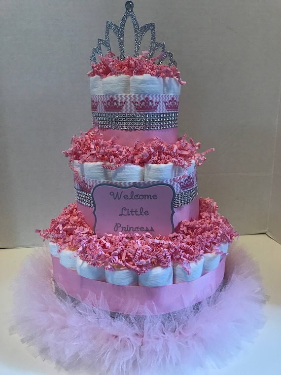Princess Tutu 3 Tiered Diaper Cake Centerpieces For Baby Etsy