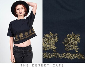 090c45e4c45 vintage 90s top vintage 1990s paisley and floral black and gold printed  crop top passports of pier 1 imports boho bohemian hippie crop top