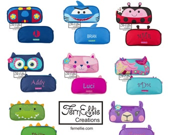 Kids Pencil Case, Personalized Pencil Pouch, Stephen Joseph Monogrammed Pencil Holder, Llama Mermaid Ladybug Airplane Cat Shark Owl Dino