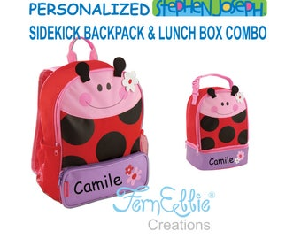 LADYBUG Sidekick Backpack and Lunch Pal Combo, Kids Backpack, Kids Lunch Box. FREE Personalization, FREE Shipping