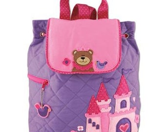 PRINCESS BEAR, Personlaized Kids Quilted Backpack, Custom Embroidery, Monogram, Personalized Girl Princess Bear Backpack, Free Customization