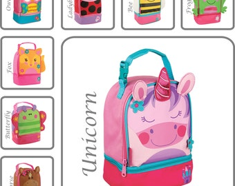 Personalized Lunch Box, Stephen Joseph, Monogram Lunch Pals, Fox, Owl, Horse, Unicorn, Ladybug, Cat, Butterfly, Bee, Frog, Lunch Bag