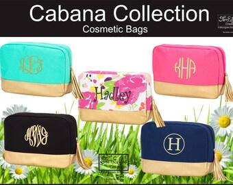 Personalized Makeup Bag, Monogrammed Makeup Bag, Bridesmaids Gift, Toiletry Bag, Cabana Collection Makeup Bag, Cosmetic Bag