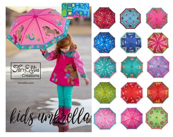 Personalized Kids Umbrella, Stephen Joseph Umbrella, Unicorn, Mermaid, Shark, Airplane, Ladybug, Owl, Princess
