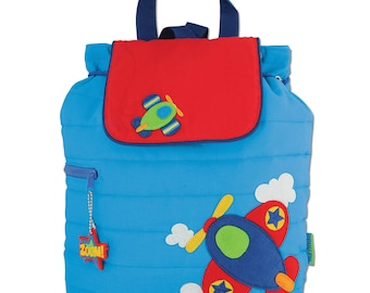 AIRPLANE, Personalized Toddler Quilted Airplane Backpack, Children's Aiplane Backpack, Kids Backpack, Back to School, FREE PERSONALIZATION