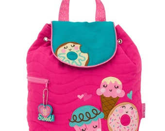 DONUT, Personalized Kids Quilted Backpack, Monogrammed Kids Backpack, Children's Backpack, Preschool Backpack