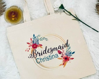 Personalized Bridesmaids Canvas Totes, Bridesmaids Gifts, Maid of Honor, Mother of the Bride, Bride, Mother of the Groom, Flower Girl Gifts