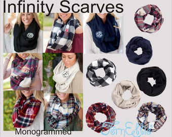 Monogrammed Infinity Scarf, Personalized Scarves, Infinity Londyn Scarves, Christmas Gift