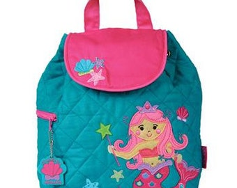 MERMAID, Personalized Children's Quilted Backpack, Custom Embroidery, Monogram, Stephen Joseph, Personalized Mermaid Backpack. FREE Monogram