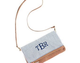 FREE MONOGRAM Crossbody Purse, Wristlet, Monogramed purse, wristlet, Bride, Bridesmaid, Gift, Multifunctional purse, Seersucker Purse