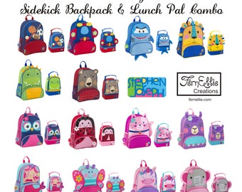 Personalized Sidekick Backpack and Lunch Pal Combo, Monogrammed Kids Backpack, Kids Lunch Box, FREE_MONOGRAM