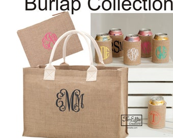 Personalized Burlap Tote, Burlap Zip Pouch, Burlap Coozie. Monogrammed Gifts, Bridesmaid Gift-Wedding, Bridal Party,