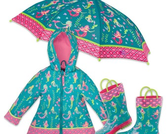 3 Pieces Set Mermaid Rain Gear, Rain Coat, Rain Boots and Umbrella, Kids Rain Boots, Kids Umbrella, Kids Rain Coat