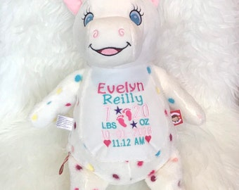 UNICORN Personalized Cubbies, Stuffed Animal Gift, Birth Announcement, Monogrammed Gift, Christmas Gift, Personalized Teddybear* Plush Toys*