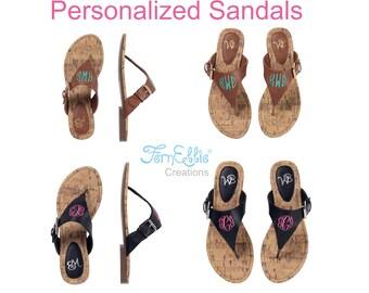 Personalized Sandals, Monogrammed Sandals, Momogram Sandals, Flip Flop