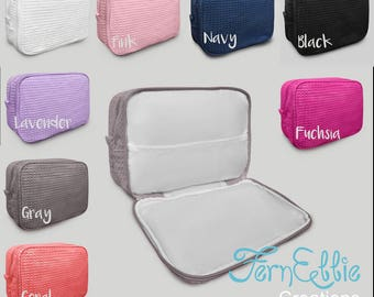 Personalized Waffle Makeup Bag, Monogrammed Makeup Bag, Bridesmaids Gift, Toiletry Bag
