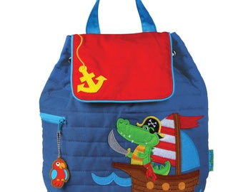 PIRATE GATOR, Personalized Toddler Quilted Backpack, Personalized Children's Backpack, Kids Backpack, Monogrammed Bag.