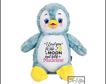 PUDDLES the PENGUIN Personalized Cubbies, Stuffed Animal Gift, Birth Stats, Monogrammed Gift, Personalized Teddybear* Plush Toys*