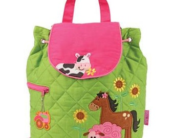 GIRL FARM, Personalized Quilted Children's Backpack, Custom Embroidery, Monogram, Stephen Joseph Backpack. FREE Monogram