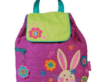 BUNNY, Personalized Children's Quilted Backpack, Custom Embroidery, Monogram, Stephen Joseph Backpack. FREE PERSONALIZATION