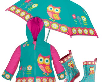 3 Pieces Set OWL Rain Gear, Umbrella, Rain Coat and Rain Boots, Kids Rain Boots, Kids Umbrella, Kids Rain Coat,