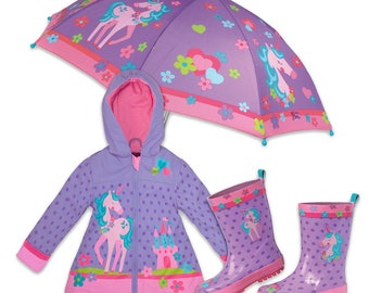 3 Pieces Set UNICORN Rain Gear, Umbrella, Rain Coat and Rain Boots, Kids Umbrella, Kids Rain Coat, Kids Rain Boots