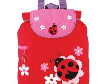 LADYBUG, Personalized Stephen Joseph Toddler Quilted Ladybug Backpack, Kids Backpack, Children's Backpack, Preschool Backpack.