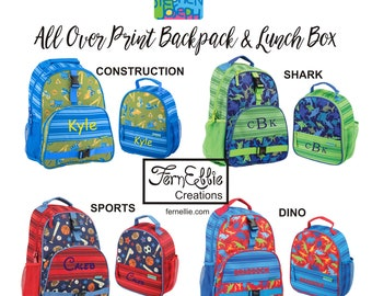 FREE PERSONALIZATION, Kids Backpack & Lunch Box, Personalized Children's Backpack Lunch Box/Dino/Sports/Transportation/Construction.