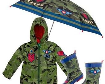 3 Pieces Set PILOT-AIRPLANE Rain Gear, Umbrella, Rain Coat and Rain Boots, Kids Umbrella, Kids Rain Coat, Kids Rain Boots