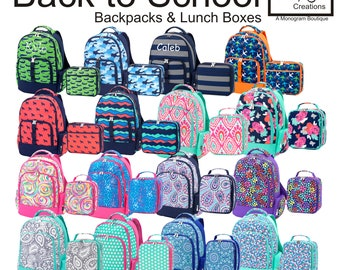 Monogrammed Backpack and Lunch Box, Personalized Backpack, Lunch Box, Back-to-School, Various Designs
