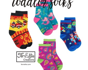 Toddler Socks, Knitted Cotton, Nylon, And Spandex Mix, Cool Print Toddler Socks, Stocking Stuffer.