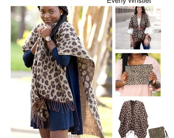 Monogrammed Leopard Shawl and Wristlet, Personalized Scarves, Kennedy Shawl , Everly Wristlet, FREE_MONOGRAM.