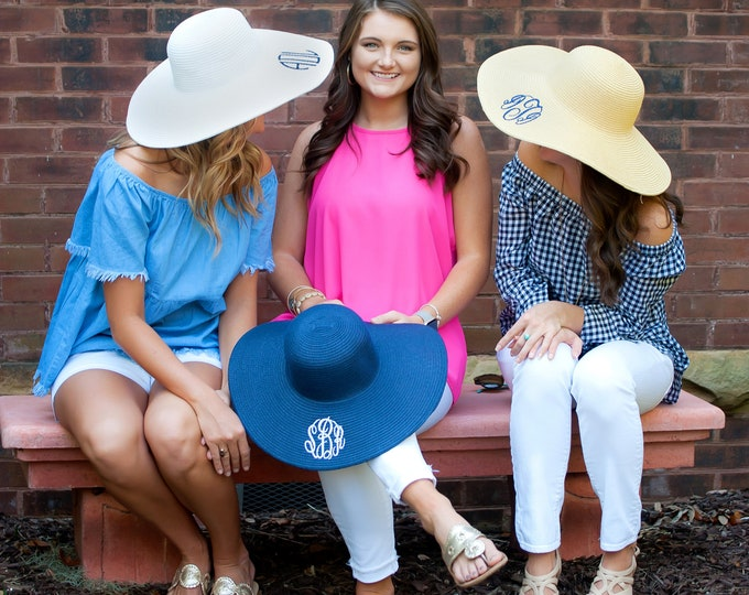 Featured listing image: Floppy Hat, Sun Hat, Monogram Summer Hat, Summer Hat, Floppy Summer Hat, Beach Hat, Pool Hat, Straw Hat, Panama Hat, Cruise Hat.