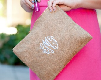 Burlap Pouch, Makeup Bag, Monogrammed  Bags. Monogrammed Wristlet, Bridesmaid Gift-Wedding, Pom Pom Trim, Bridal Party, FREE PERSONALIZATION